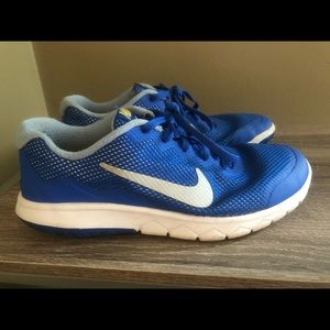 Blue Nike running shoes